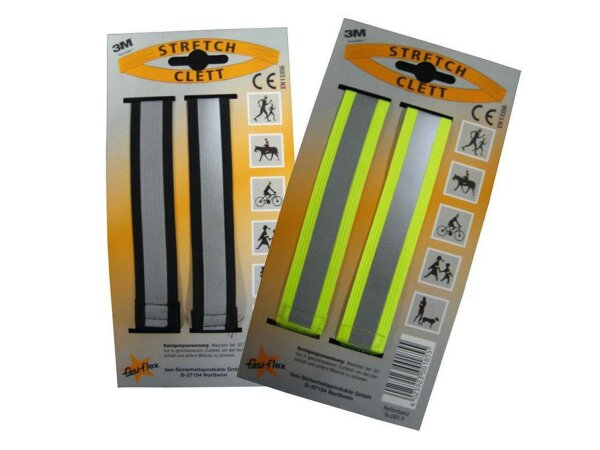 """FASI Hosenklettband """"Stretch clett"""" 3M Scotchlite Reflex-Material, Stück Auf Karte, zertifiziert nach EN 13356 schwarz"""