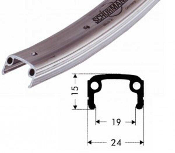 """felge alu 12"""" silber matt 203-19 vl 8,5mm 16 loch, ohne ösen"""